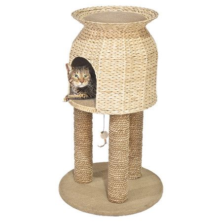 handmade jute and hyacinth cat tree with 3 scratching posts product cat material hyacinth and jutecolor