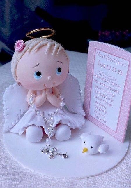 Enfeite de bolo batismo / batizado anjo menina