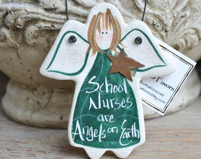Nurse Gift School Ornament Salt Dough Angel Birthday