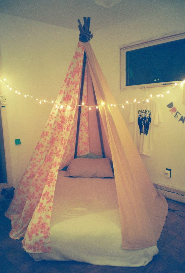 Get creative with your child's sleeping arrangements and built a Teepee for them to sleep in. Get them a low bed frame, and built the luxurious tent around it, so they can feel like they are camping every night.