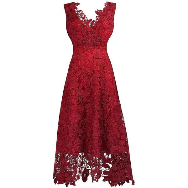 KIMILILY Women's V neck Elegant Floral Lace Swing Bridesmaid Dress ($8.50) ❤ liked on Polyvore featuring dresses