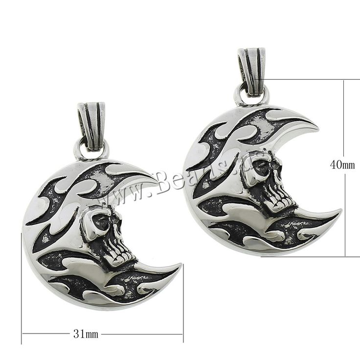 Stainless Steel Pendants 316L Stainless Steel Moon with skull pattern & blacken 31x40x10m,china wholesale jewelry beads