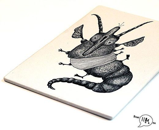 Olio | Opinio Creatura #ceramics #tile #handmadetile #print #decals #drawing
