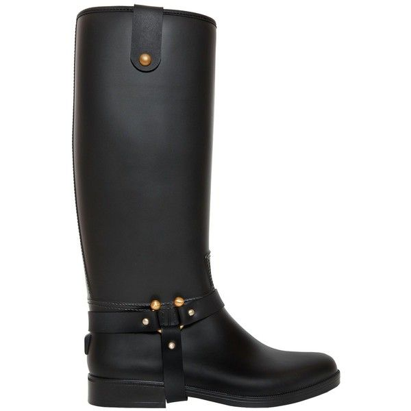 Red Valentino Women 20mm Rain Pvc Riding Boots ($325) ❤ liked on Polyvore featuring shoes, boots, black, black rubber sole shoes, black low heel boots, studded boots, black shoes and black studded shoes