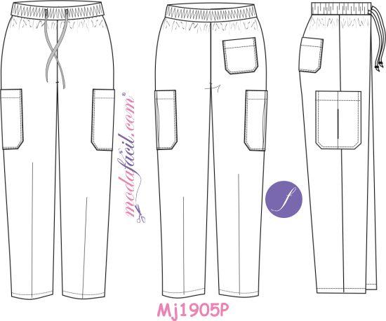 Imagen de la Ficha Técnica de los moldes de uniformes y ropa de trabajo modelo mj1905p