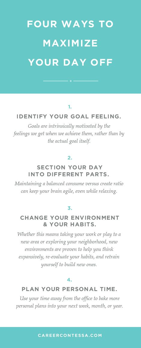 Four ways to maximize your day off. | CareerContessa.com