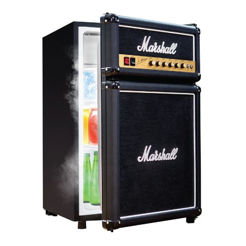 Marshall Compact Fridge. Cool man cave decor. Teenage guys bedroom decor. Birthday gifts for teen boys.