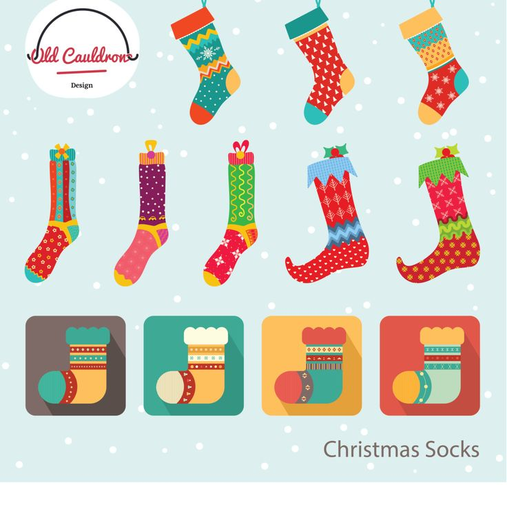 Christmas stockings digital clip art commercial use, holiday clipart cliparts, vector graphics, digital images  CL003 by OldCauldronDesign on Etsy