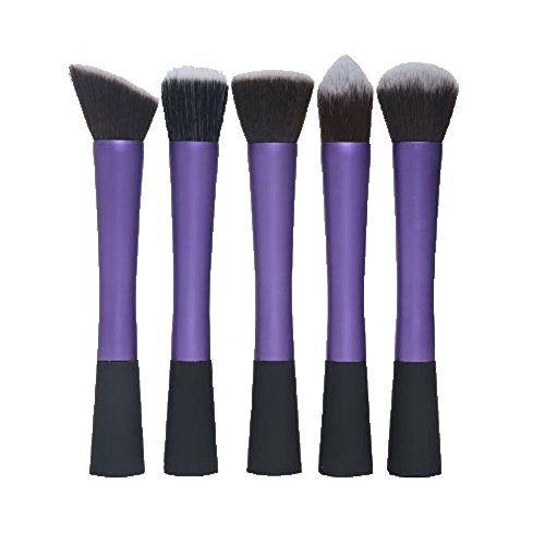 FOONEE Kabuki Cosmetic Brush Blusher Powder Foundation Makeup Brush Set Kit Purple5pcs * Check out the image by visiting the link.