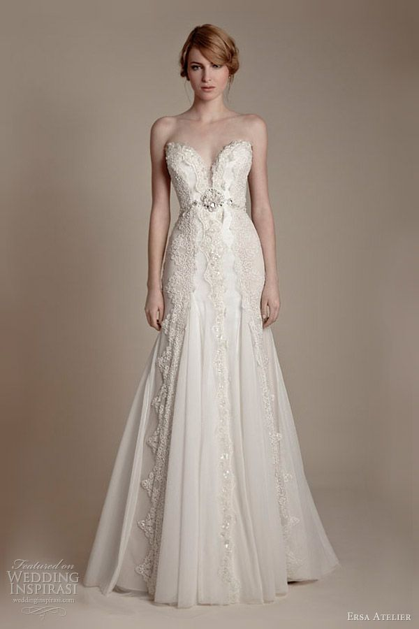 Strapless sweetheart french lace tulle gown.