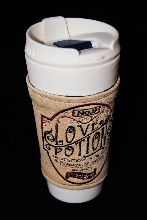 Love potion number 9 Victorian apothecary label embroidered coffee corset or water bottle cozy