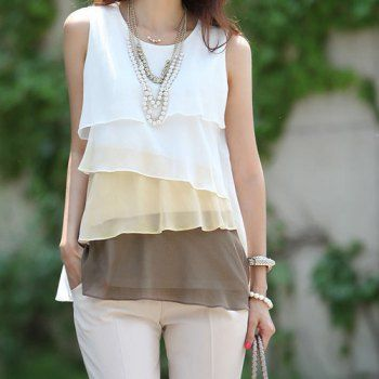 Stylish Scoop Neck Color Block Sleeveless Tiered Blouse For Women
