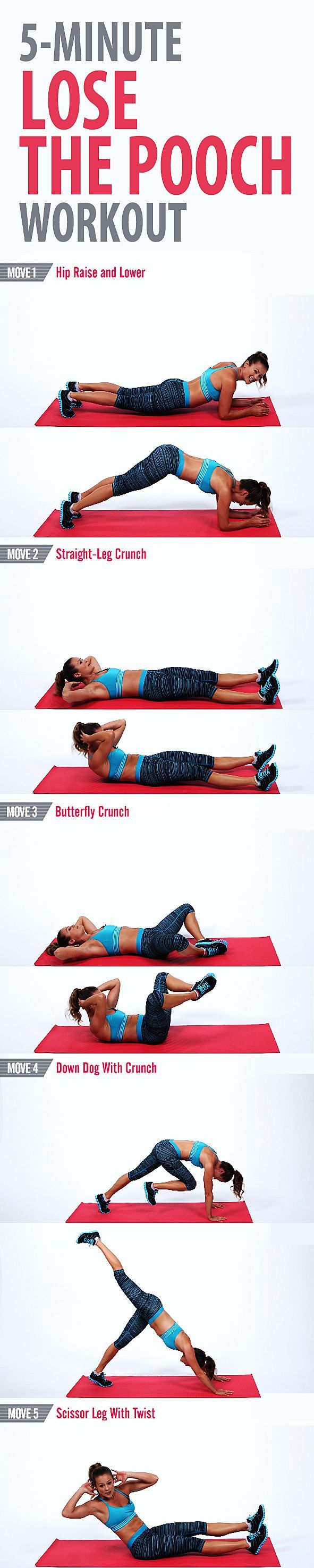 Try this quick and focused workout to tone the lower part of your abs and work off the pooch. We concentrate on the abs for five minutes and guarantee you feel the burn. You don't need any equipment, but don't forget to breathe! #abs #sixpack #flatstomach #flatbelly #coreworkout #abworkout #sixpackworkout #bellyfat #muffintop #lowerabs