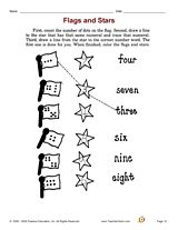 Flags and Stars: Develop math skills with an activity that focuses on counting and identifying numerals.