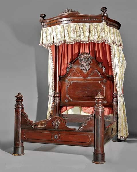 An American Rococo Revival carved rosewood and rosewood-grained half-tester  bed, mid