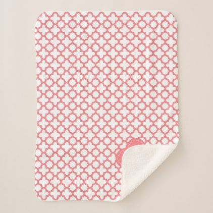 Pre- Order  Pre-order today! Your design will be made and shipped as soon as our manufacturers are ready to begin production.  Monogram Blush Pink Quatrefoil Pattern Sherpa Blanket  $44.60  by KarinaandCleo  - cyo diy customize personalize unique