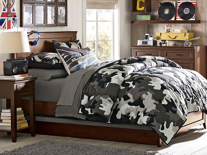 I love the pbteen hampton camo bedroom on for Boys camouflage bedroom ideas