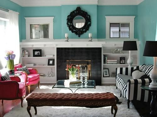 turquoise walls - goes with every color: Decor, Ideas, Livingrooms, Living Rooms, Dream, Wall Color, Colors, House, Fireplace