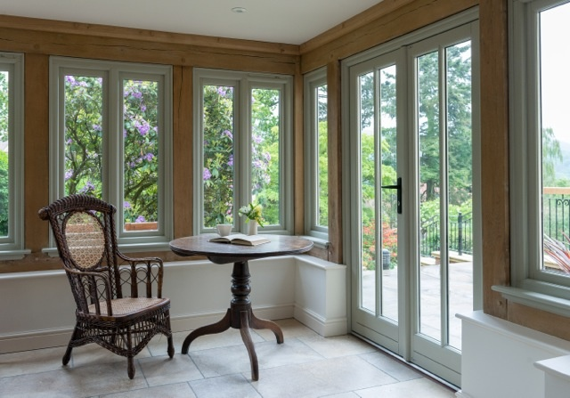 Border Oak - Love the contrast of colours with the windows and the oak framing.