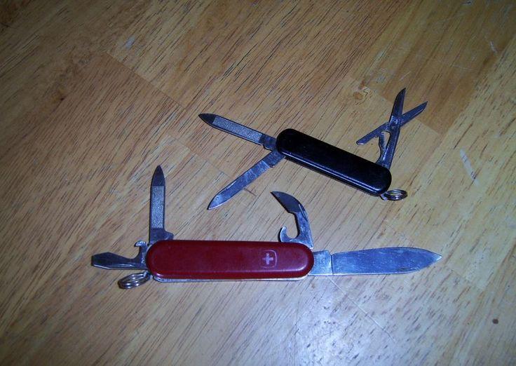 2 Wenger Delemont SWISS Army Pocket Knifes - Red & Black   #wenger