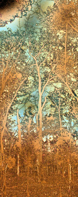 forest scene hues of orange brown blue green - Art Nouveau trees - Techno-Impressionist Museum - Techno-Impressionism - art - beauti...