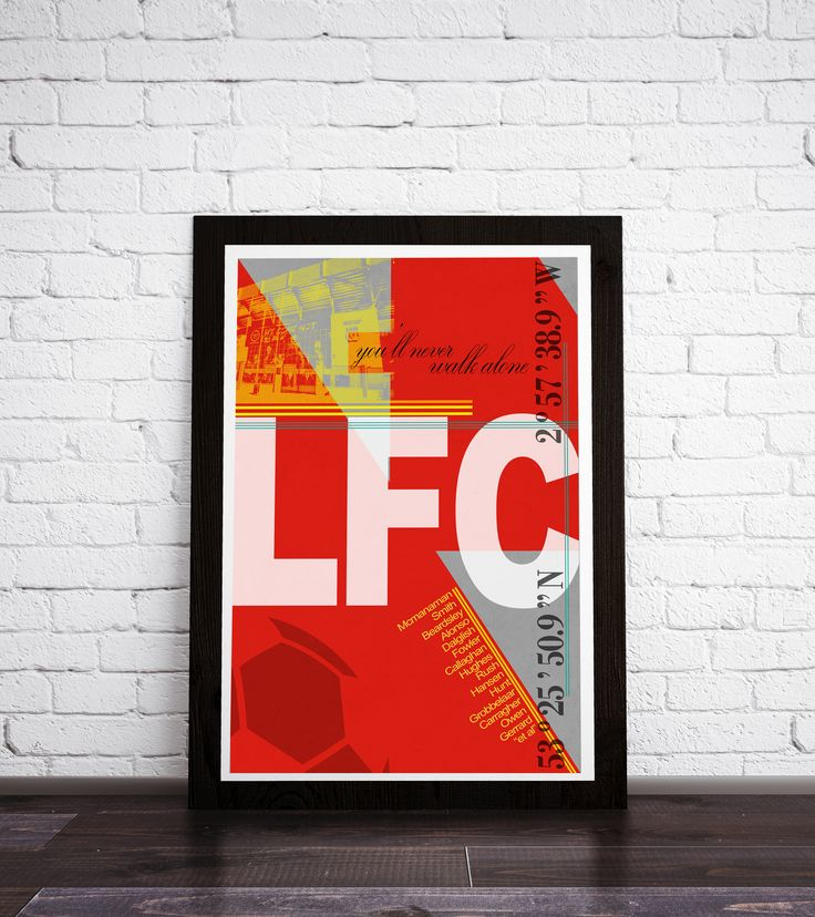 This is a stylish Liverpool FC framed print, fit to grace any man cave or children's bedroom. Styled with a modernist twist, featuring typography, a graphic of the stadium, coordinates, and legends from this iconic team. You can either purchase this artwork as a print or framed and ready to hang on the wall.