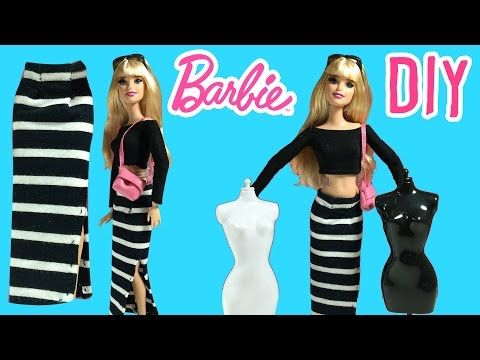 DIY - How to Make Barbie Doll Long Skirt - Barbie Clothes Tutorial - Making Kids Toys - YouTube