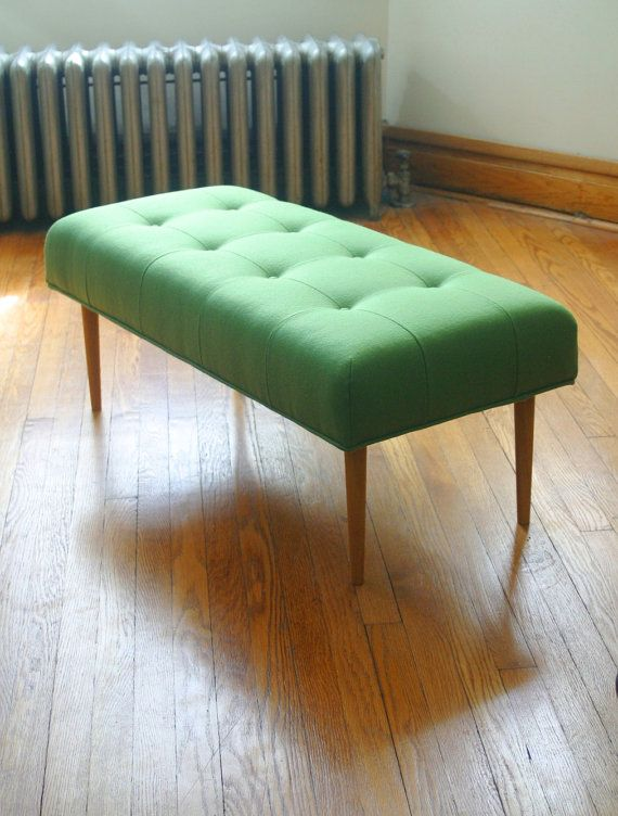 """Compact upholstered bench by FlotsamFurniture on Etsy (40""""W x 18""""D x 16""""H) - perfect dimensions for my bedroom."""