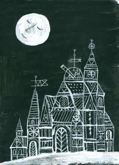 Rob Dunlavey perhaps try cardboard architecture printing lesson with white paint on black paper