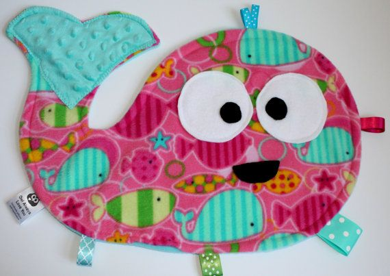 Whale Taggie Blanket Large Pink Fish Print by OwlAlwaysHeartU