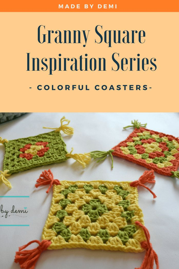 GRANNY SQUARE INSPIRATION SERIES | COLORFUL COASTERS | made by demi