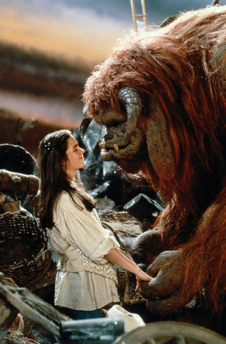 Sarah (Jennifer Connelly) & Ludo from Labyrinth. I am naming my next dog Ludo. I <3 Ludo!