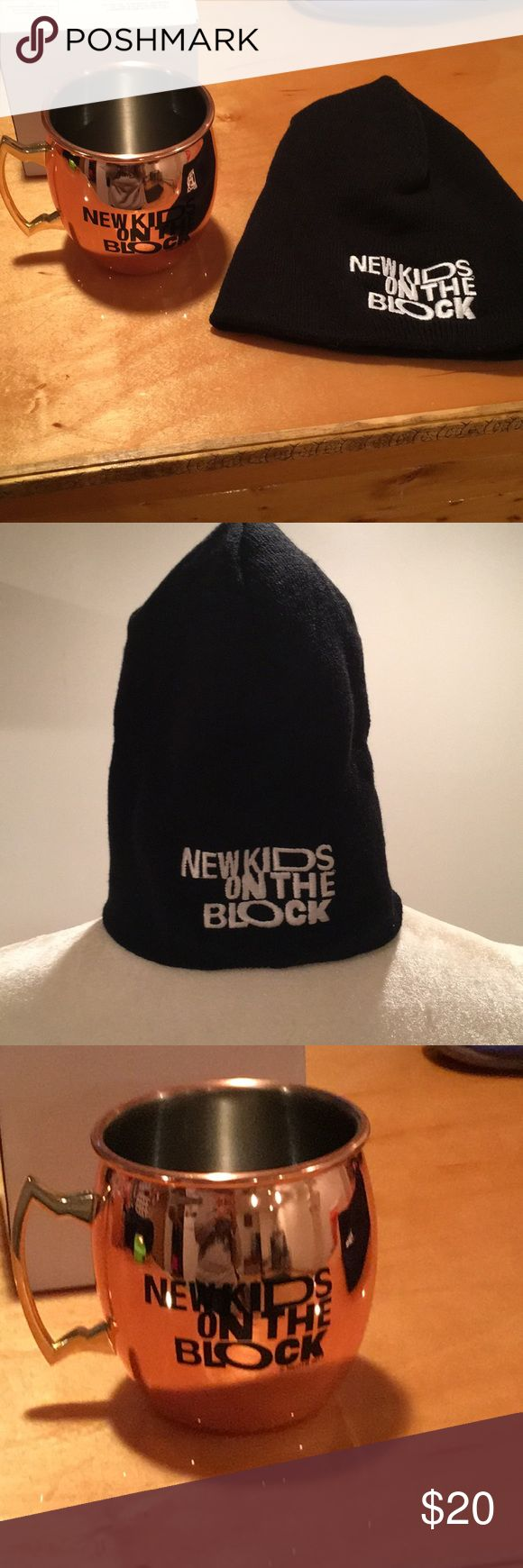 NWT NKOTB Moscow mule cup and hat NWT NKOTB new kids on the block  Moscow mule cup and knot winter hat.  Never used either.  Received for being part of the fan club From a smoke free home Accessories Hats