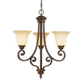Millennium Lighting Oxford 23-in 3-Light Rubbed Bronze Mediterranean Scavo Glass Shaded Chandelier (Foyer)