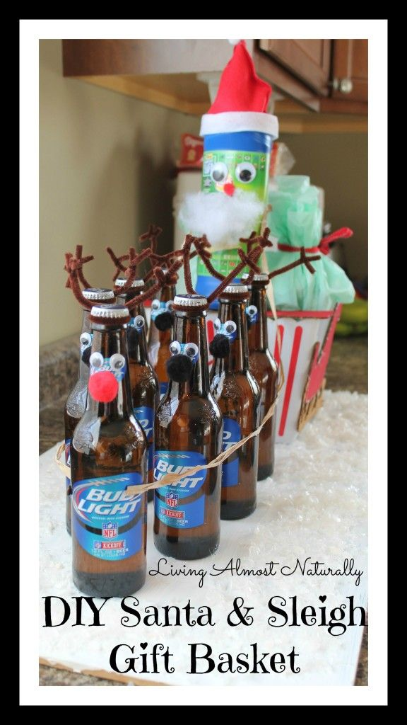 DIY Santa & Sleigh Gift Basket- Homemade Gifts #diy #diychristmasgifts #christmas