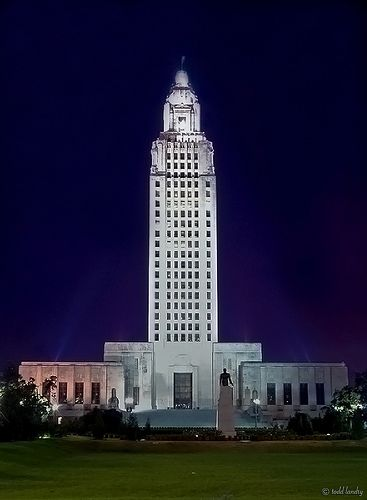 The Louisiana State Capitol in Baton Rouge is the tallest capitol building in the U.S. (450 ft, 34 stories & an observation deck on top).