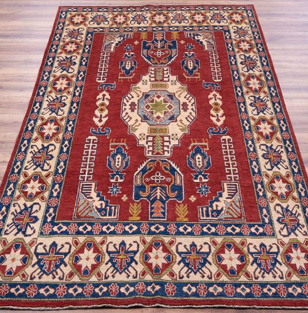 Com Kazak 308 Rug A 100 Wool Hand Knotted Traditional In Shades