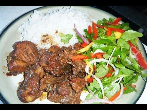 HOW - TO MAKE REAL JAMAICAN STEW CHICKEN , JAMAICAN RICE & PEAS WITH JAMAICAN PLANTAINS - YouTube
