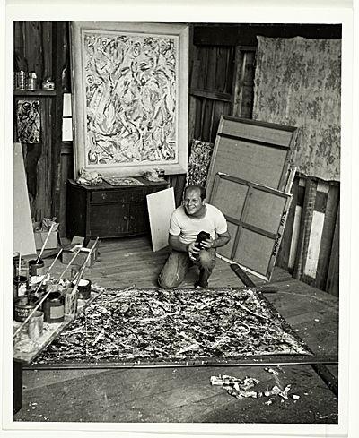 jackson pollock in studio | Jackson Pollock in his studio, from the Jackson Pollock and Lee ...