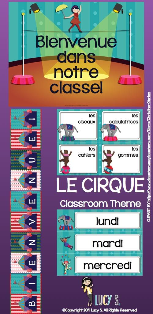 $ FRENCH - acrobats, clowns, lions, elephants, popcorn and more! This set of circus-themed printables is going to turn your classroom into the greatest show on Earth!
