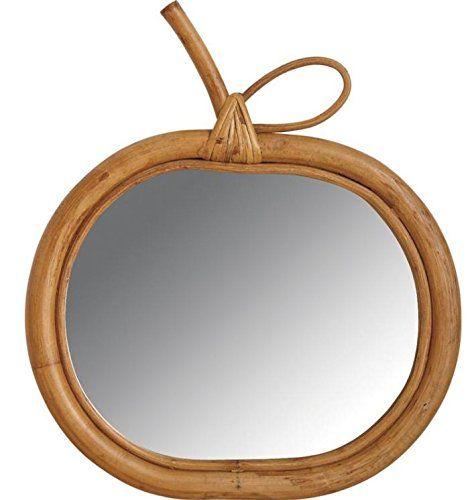 Miroir mural en bois et rotin pomme