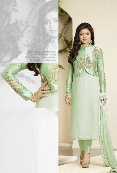 Green designer suit with dupatta - Desi Royale