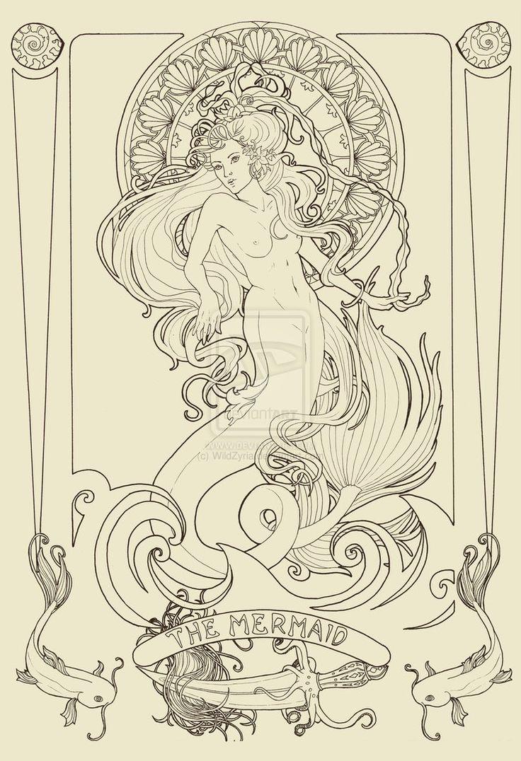 The Mermaid lineart by *WildZyria on deviantART