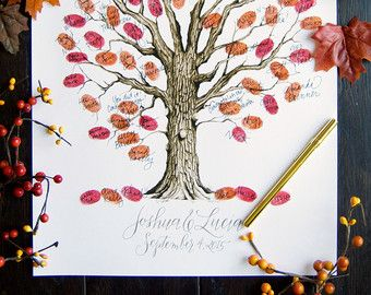 Brown Fall Autumn Wedding Guest Book Tree with by EricaHCalligraphy on Etsy