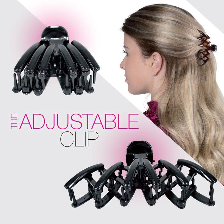Nieuw!! De Adjustable Clip. Deze superhandige klem is op twee manieren te dragen: in maxi-formaat en in midi-formaat, daardoor is de klem voor elk haartype geschikt.