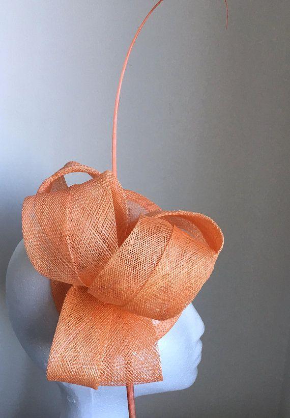 TheHeadwearBoutique on Etsy- Cara Tangerine   Salmon Orange   Light Orange  Kentucky Derby Hat Headband fcedf8e98b7