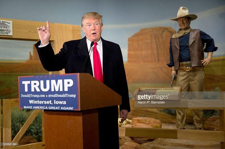 Republican presidential candidate Donald Trump speaks at the John Wayne Birthplace Museum on January 19, 2016 in Winterset, Iowa. Trump received the endorsement of Aissa Wayne, John Wayne's daughter.