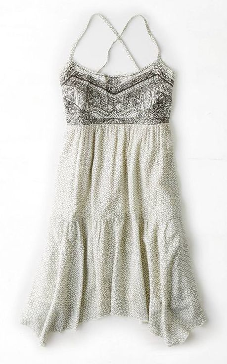 Beautiful Boho Dress in White with Black Embroidery