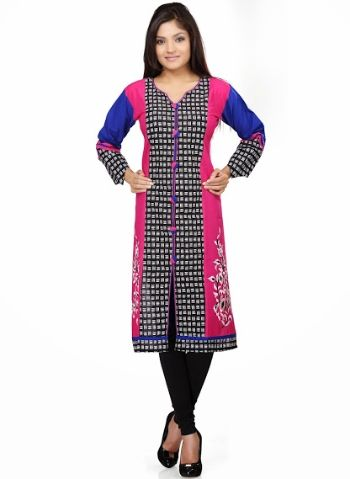 Buy Gleaming Black & Pink Designer cotton Kurti Online In India. Free Shipping. Cash On Delivery.