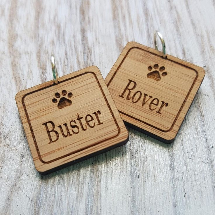 Square Wooden Pet Tags